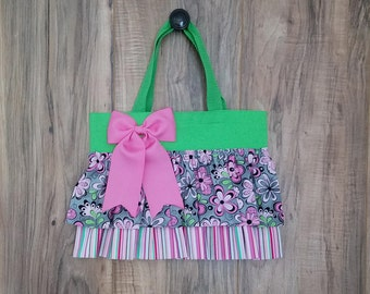 Pink & Gray Flowers Ruffled Tote Bag/Purse