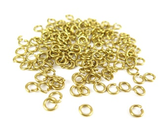 Raw Brass 5mm Round Jump Rings - 16 grams (approximately 160x) (19 gauge) K853-A