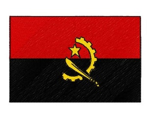 Buy 1 Take 1 Embroidery Design, Angola Flag Machine Embroidery Design, Instant Download, Fits 4x4 Hoop Size, 9 Formats