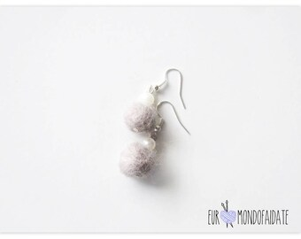 Carded wool earrings, felt earrings, Mother's Day gift