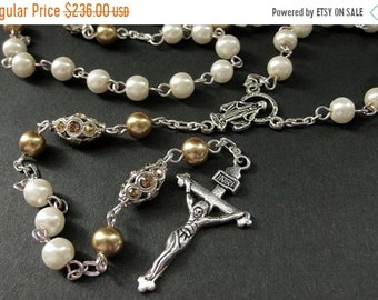 MOTHERS DAY SALE Crystal and Pearl Rosary in Champagne Gold and White. Crystal Rosary. Handmade Rosary. Catholic Rosary. White Rosary. Handm
