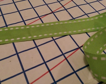 "1"" Saddle-Stitched Grosgrain Ribbon -- Lime Green"