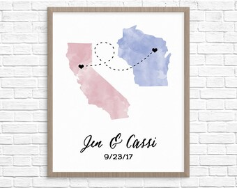 Map Guest Book Alternative // Watercolor States Guest Book