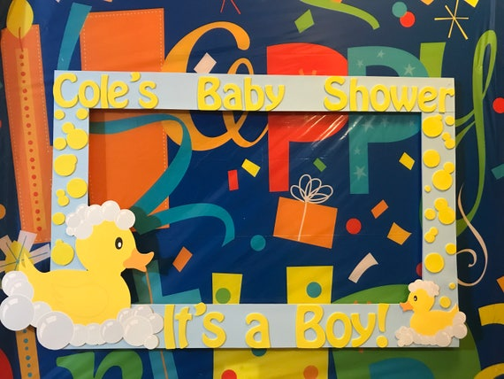 rubber duck baby shower party photo booth frame robin egg