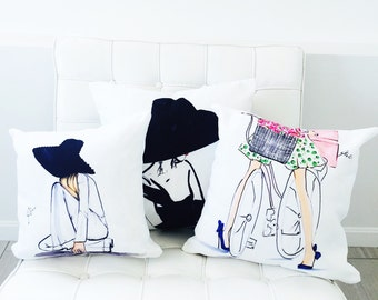PILLOWS   (Fashion Illustration art  Home Decor Gift Ideas  Gifts for Her Wedding Gifts Graduation Gifts Birthday Gifts)