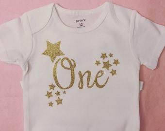 Star first birthday bodysuit, glitter birthday bodysuit, custom birthday shirt