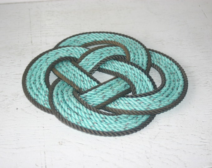 Dark Brown Trimmed Green Colored Rope Pot Holder Trivet Beautiful Nautical