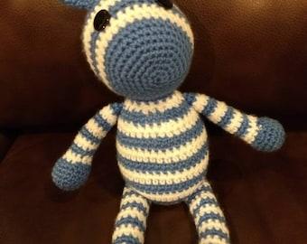 Blue Zebra Crocheted Stuffed Animal