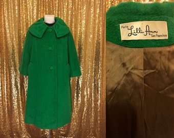 Reserved for Rochelle - Vintage Lilli Ann Swing Coat // 1960s Kelly Green Mohair Winter Coat // Bell Sleeves Wool // Large XL Plus Size San