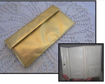 Vintage Gold Metallic Vinyl Wallet with Snap Closure, 60s, coins, bills, stamps, cheques