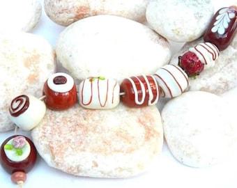 Handcrafted Glass Chocolates, Lampwork Bead Set SRA