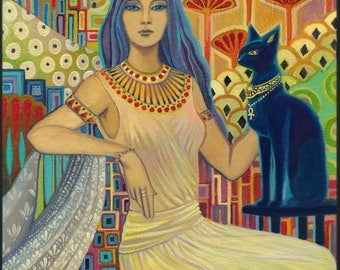 Bast 8x10 Print Egyptian Cat Goddess Art Deco Pagan Mythology Psychedelic Bohemian Gypsy Goddess Art
