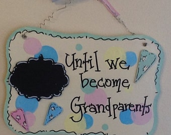 grandparent sign, new grandparent sign, baby countdown sign, newborn countdown sign, newborn sign, grammie and pawpaw sign, birth sign