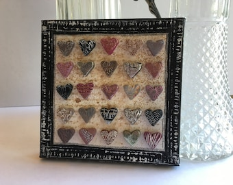 mixed media heart art- polymer clay heart art on canvas