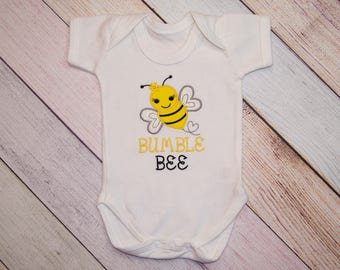 Bumble Bee Embroidered Bodysuit - Bumble Bee Shirt - Boys One Piece - Girls Shirt - Girls One Piece - Cute Bumble Bee One Piece - Boys Shirt