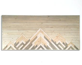 Wood Wall Art - Mountain Wall Art - Wood Mountain Art - Wall Art - Wood Wall Decor - Wooden Wall Art - Geometric Wall Art - Twin Headboard