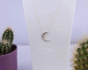 Halfmoon Necklace, silver Pendant, solid sterling silver