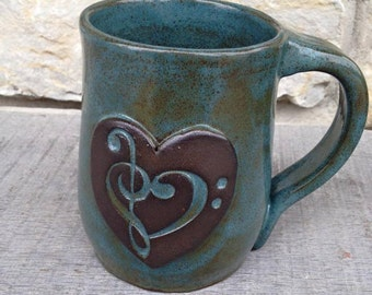 Music mug, handcrafted Treble Bass Clef Heart coffee cup