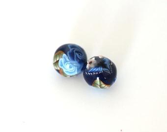 Polymer Clay Beads, Blue Rose Beads, Winterflower Pair 872