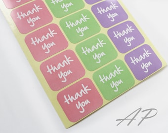 Thank You Sticker 42pc in Peach, Green and Purple..2 Sheets in Pack
