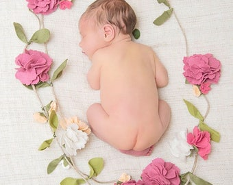 Felt Flower Garland, Carnations, Newborn Photo Prop, 1st Birthday Garland, Felt Flower Vine, Baby Photo Prop, Floral Garland,