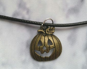 Happy Halloween Bronze Pumpkin Necklace/Choker