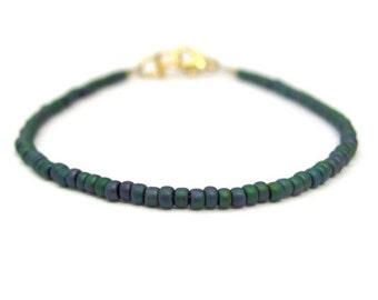Teal Beaded Friendship Bracelet, Boho Design Stacking Layer bracelet, seed bead bracelet, Hippie Chic Yoga Zen Beaded Jewelry