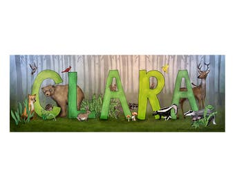 Personalized Child Name Sign - Woodland Animal Theme