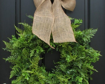 Spring Wreaths, Summer Wreaths, Boxwood, Fern and Burlap Bow for Year Round, Year Round Wreaths, Twoinspireyou, Etsy Wreaths, Mother's Day