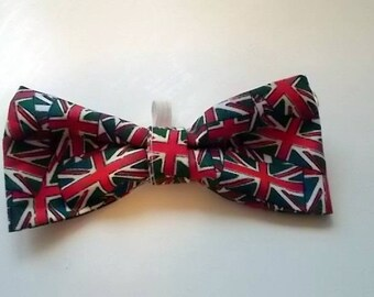 Handmade Union Jack Dog Bow Tie, Union Flag Dog Bow Tie, British Flag Dog Bow Tie