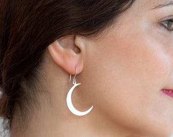 Crescent Moon Earrings Silver Crescent Moon Dangle Earrings Sterling Silver Statement Earrings boho earrings moon jewelry christmas earrings