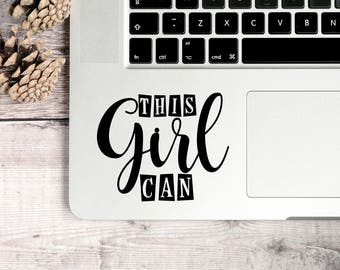 This Girl Can Decal, Girl Decal, Positive Girl Quotes, Positive Girl Decals, Positive Decals, Positive Laptop Decals, Motivational Decals