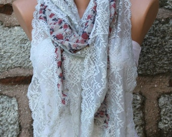 Floral Lace Scarf ,Summer Scarf,Wedding Scarf, Cowl Bridesmaid Gifts Bridal Accessories Gift Ideas For Her Women's  Fashion Accessories