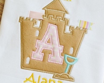 The Sweetest Sandcastle Shirt with Initial
