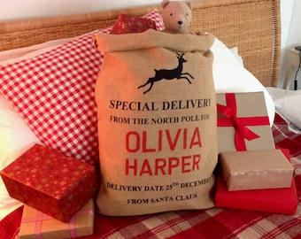 Christmas Stocking - Personalized Christmas Sack - Reindeer Design