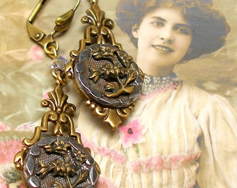 1800s BUTTON earrings, Victorian flowers in steel cups. Antique button jewellery.