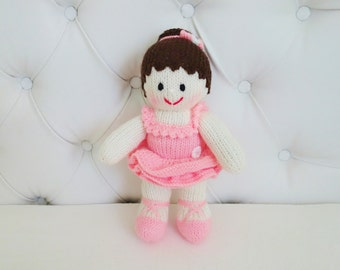 Hand Knitted Ballerina - Ballet Doll -  Ballet Girl - Ballerina Doll - Size 12 Inches (MADE TO ORDER)