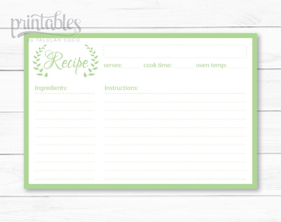 printable recipe card garden green wreath floral kitchen paper shabby chic stationery simple modern design diy template record organizer from