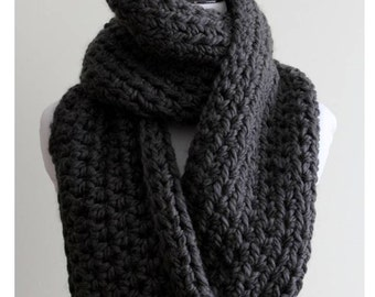 Chunky knit scarf dark grey, Chunky infinity scarf, Cozy soft scarf, 16 colors available, winter scarf, Charcoal grey scarf, warm and cozy