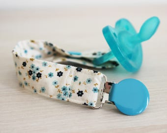 Pacifier clip girl, Soothie pacifier holder, Baby pacifier clip, Binky Clips, Blue flower, Paci Clip, dummy clip, baby shower gift