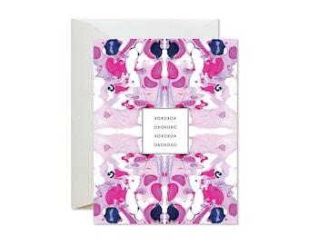 XOXO Magenta Purple Tiled Marble Greeting Card / Love / Valentine's Day / Anniversary / Wedding / Friendship