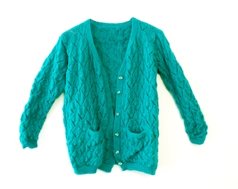Green Knitted Woollen Cardigan/Sweater with Pockets - 1