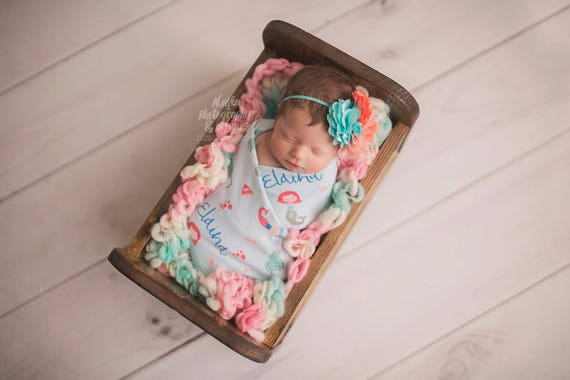 Personalized Swaddle Blanket Mermaid Gifts For Baby