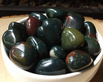 Tumbled Bloodstone - 4PCS, Heliotrope, stone of personal power, crystal healing, jewelry supply