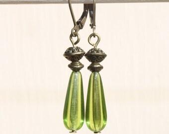Green Earrings Jewelry Dangle Earrings Drop Earrings Czech Glass Earrings Birthday Gift For Her Gift For women Christmas gift