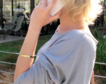 Gold Cuff Bracelet. Personalized bracelets. Custom Engraved Bangle. Custom Cuff Bracelet. Message bracelet. Inspirational bracelet for Her