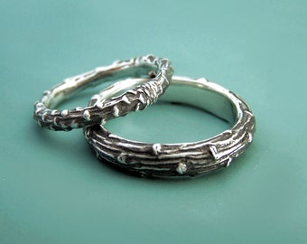 Two Sterling Silver Twig Wedding Rings, Recycled Sterling Silver, Pine Branch