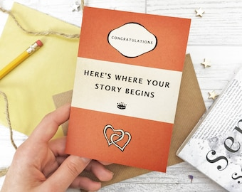 Literary Wedding Card - Engagement Card for Book Lovers - Classic Book Cover - Bookish Card - Here's where your story begins (185)