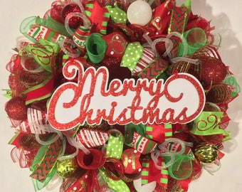 Christmas wreath, Christmas wreath, merry Christmas wreath, mesh Christmas wreath, Christmas door wreath, Christmas decor, wreath, wreaths