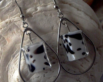 Dalmatian Glass Dangle / Hoop Earrings
